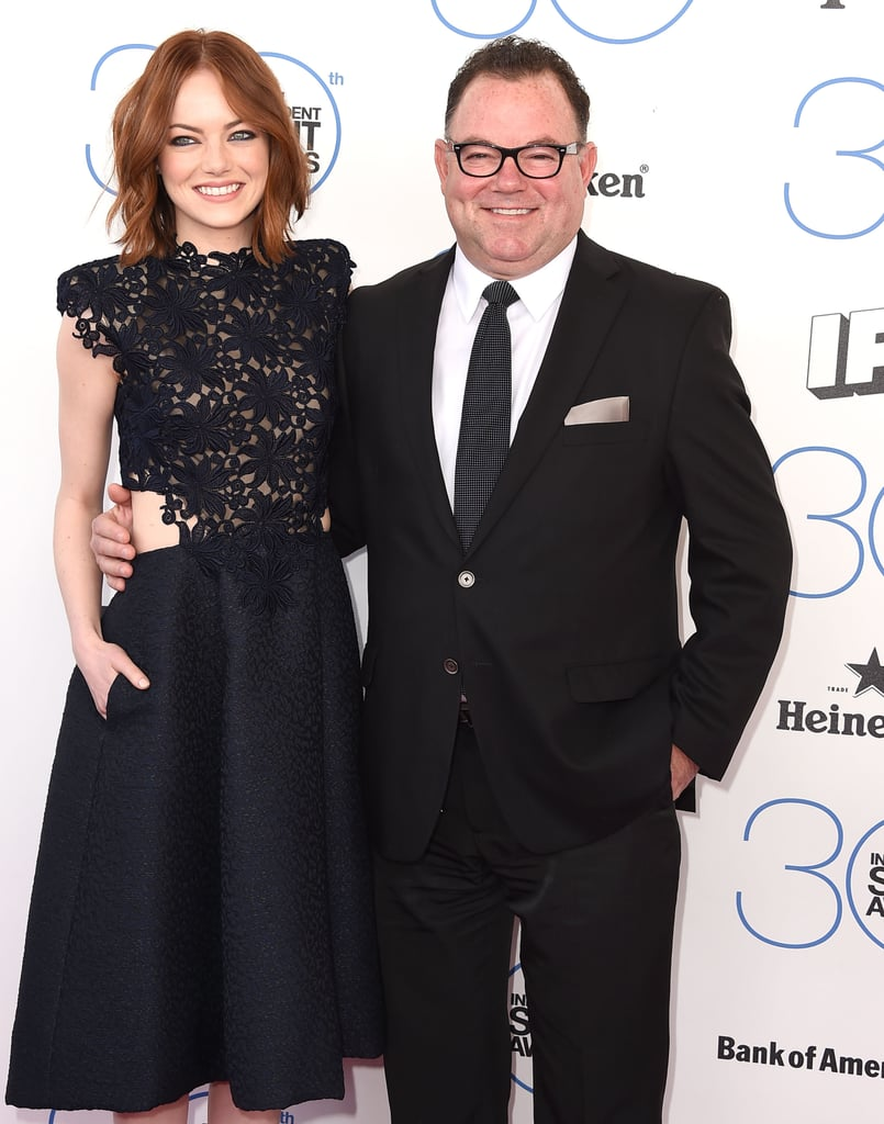 emma stone 39 s dad jeff accompanied the actress to the independent celebrities with their. Black Bedroom Furniture Sets. Home Design Ideas