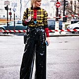 Patent Wide-Leg Trousers