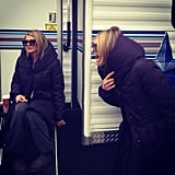 Eliza Coupe tried to warm up by her Happy Endings trailer. Source: Instagram user ellizamuthafuckincoupe