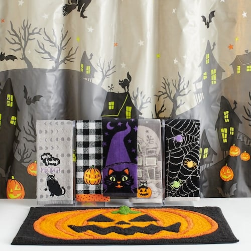Celebrate Halloween Together Glow in the Dark Scenic Shower Curtain