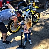 Willow Hart helped her dad out with some mechanical repairs.