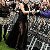 Charlize Theron wore a Christian Dior Couture gown to the Snow White and the Huntsman premiere in London.