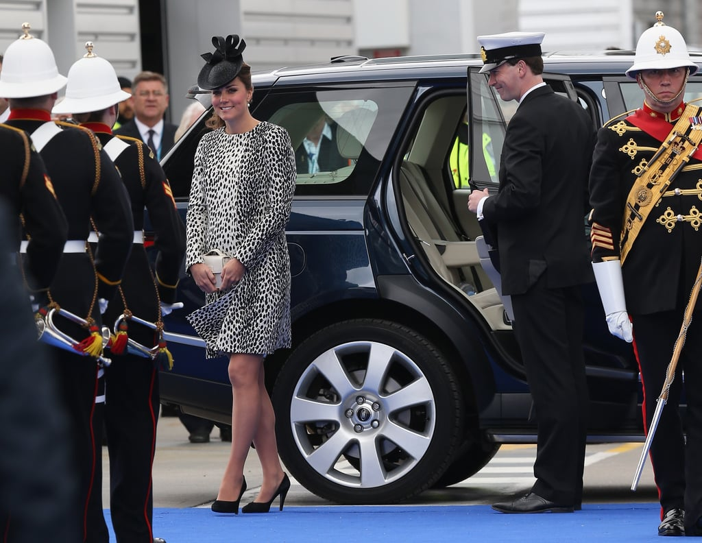 Kate Middleton arrived at her last solo appearance before her maternity leave.