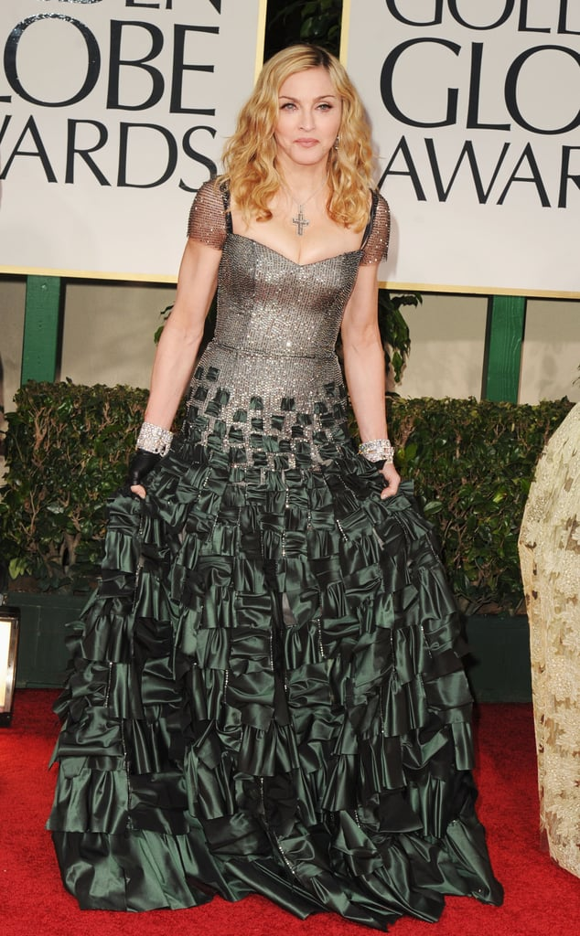 Madonna in Reem Acra at the Golden Globes.