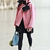 Yes, sneakers even work with tights. The proof is this ultrachic take with a Spring topper and Prada high-tops on bottom.  Source: Tim Regas