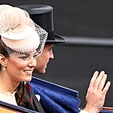 During the Diamond Jubilee carriage procession in 2012, Kate Middleton was seen wearing an orchid-like beige fascinator.