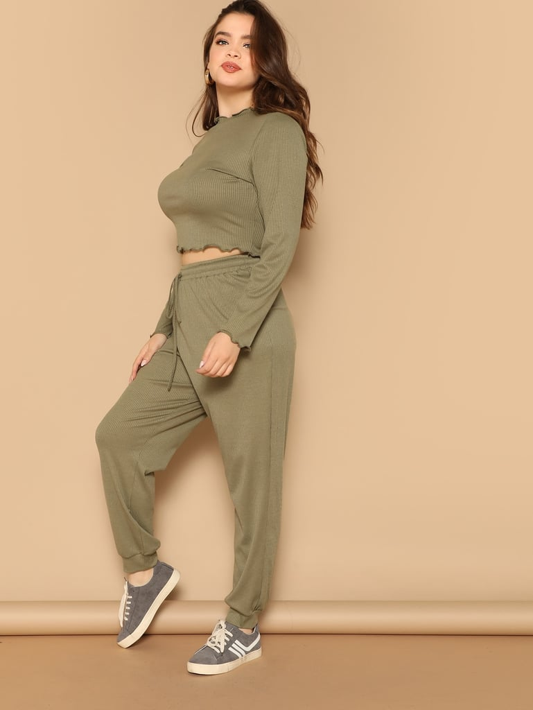 Shein Plus Lettuce Trim Rib-Knit Tee & Pants Set