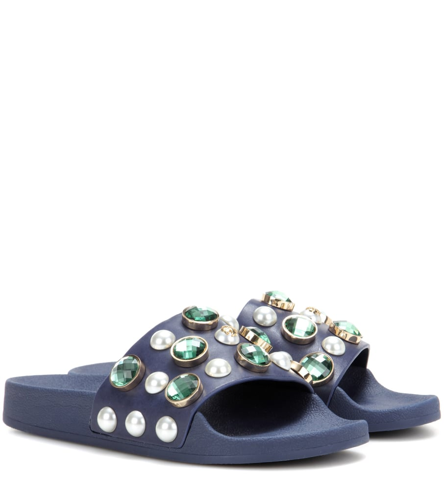 Tory Burch Vail Embellished Leather Slide Sandals