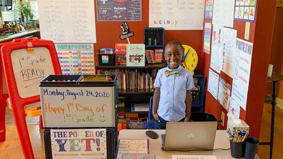 """Bryce Latimer, a first grader from Scott, AR, is eager to hit the books this year, even if he's learning from home. Recently, his mom, Ashley, showed off photos of the affordable at-home learning station she created with Bryce, and it's safe to say we're impressed.  """"He always said he didn't want to get the virus, so he understands the concept of what's actually going on,"""" Ashley Latimer told Good Morning America. """"For me, I felt that he needed to feel like he's still in the classroom."""" Bryce's space includes a desk, a bookshelf, and tons of diverse motivational posters meant to inspire the 6-year-old. """"My favorite thing for him are some of the motivational quotes [like], 'This doesn't make sense yet,'"""" explained Ashley. """"Even if it's an animation, I wanted him to see children who are African American, learning in a positive light."""" Ahead, get a look at Bryce's sweet at-home learning set up. We have a feeling he's going to knock the 2020 school year out of the park!      Related:                                                                                                           24 School Picture Day Photos That Didn't Turn Out the Way the Kids' Parents Hoped"""