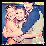 Sarah Hyland and Matt Prokop gave Ashley Tisdale a birthday bear hug. Source: Sarah Hyland on WhoSay