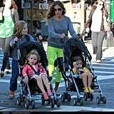 With twins Tabitha and Loretta, Sarah jessica Parker definitely has her hands full. But thanks to a helpful, stroller-pushing James Wilke, each tot has her own stroller pusher.