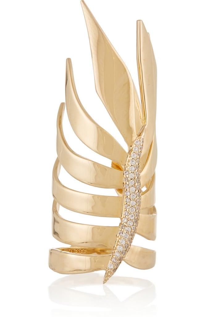 Eddie Borgo Frond Gold-Plated Cubic Zirconia Ring ($200)