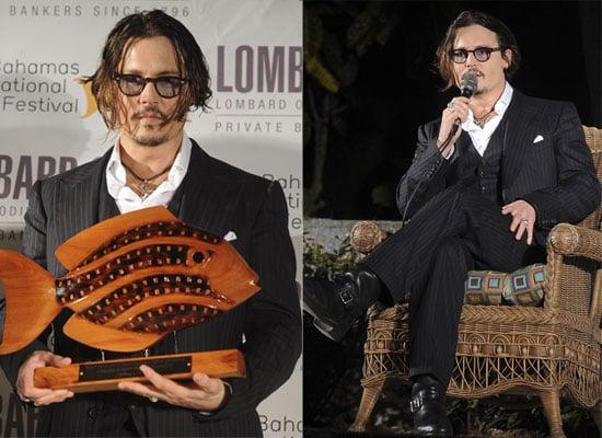 Photos of Johnny Depp Picking Up A Lifetime Achievement Award at the Bahamas International Film Festival
