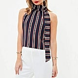 Missguided Navy Tie Halter Neck Stripe Crop Top