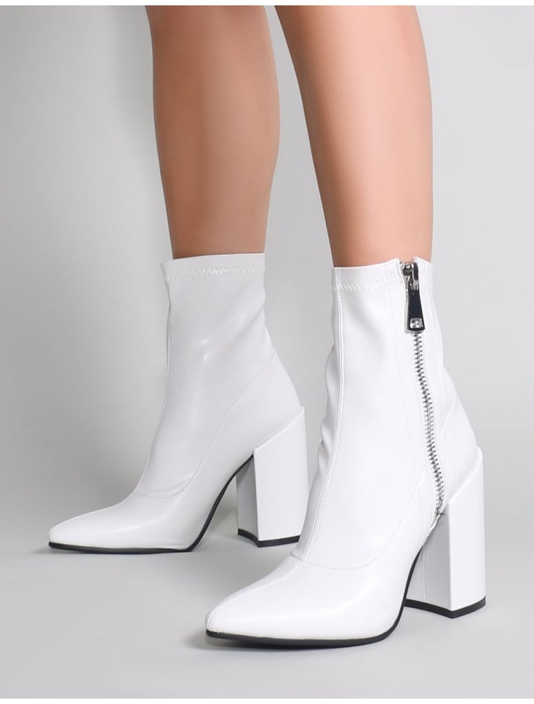 white Public Desire Renzo Sock Fit Ankle Boots