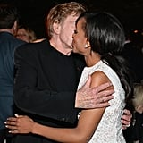 Kerry Washington got a kiss on the cheek from Robert Redford.