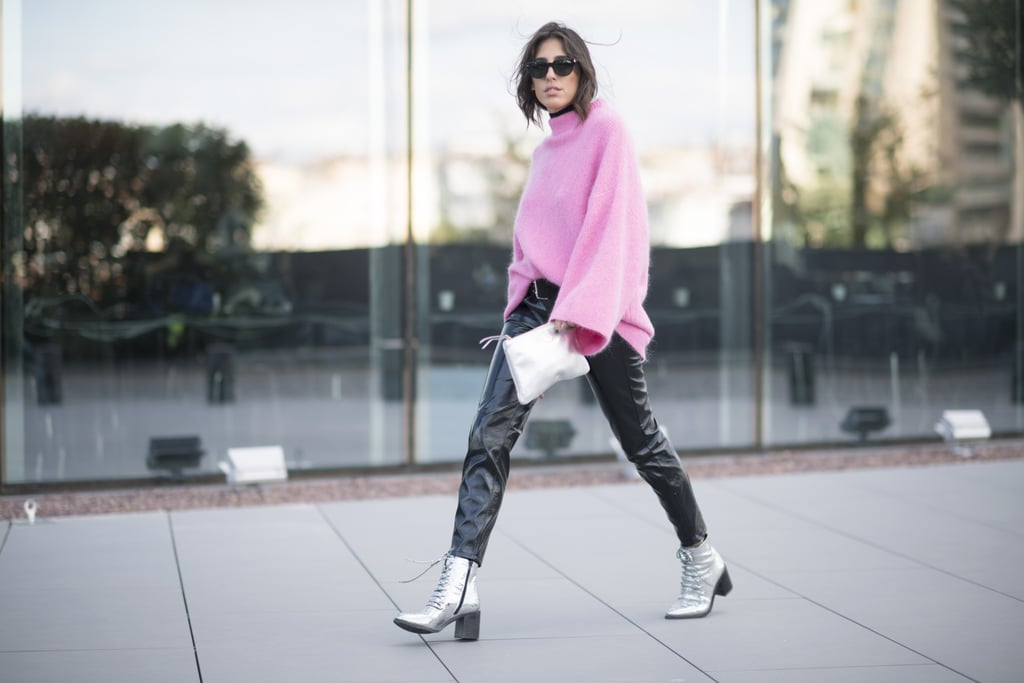 Cool Leather Leggings and a Bright Pink Sweater