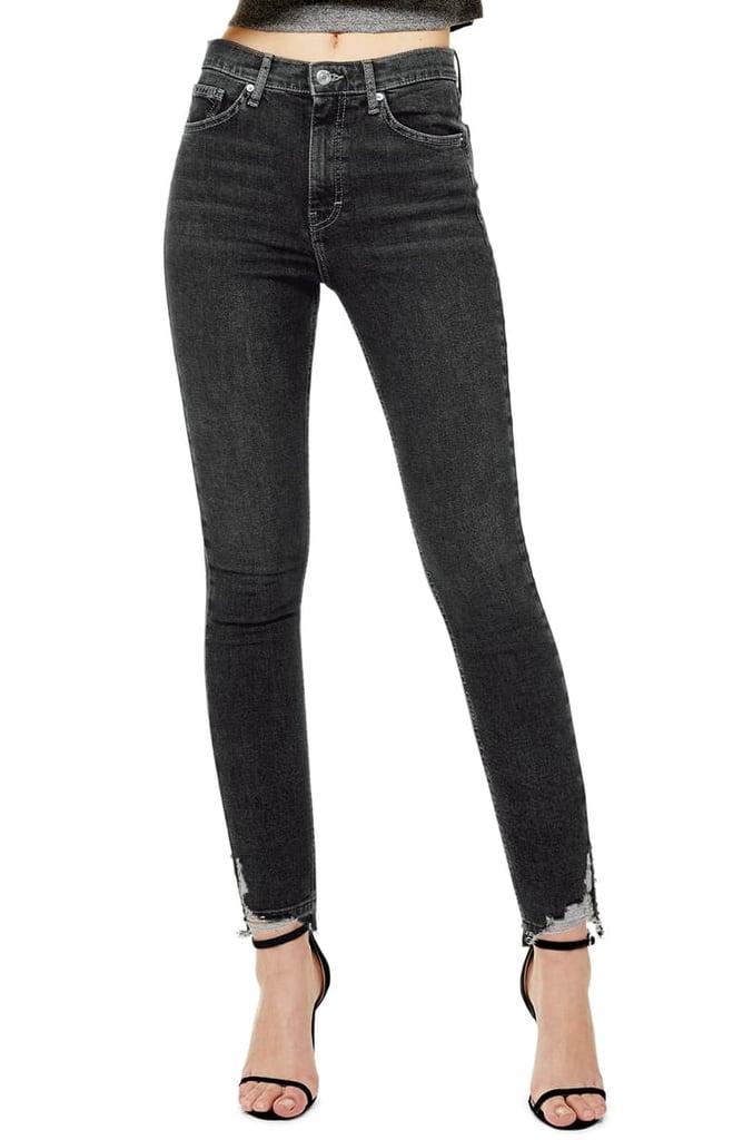 Topshop Jamie High-Waist Ripped Hem Skinny Jeans