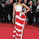 Zoe rocked this striped Armani Prive gown at the 2011 Cannes Film Festival.
