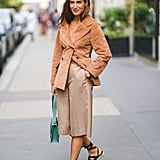 Style a Suede Blazer With Long Trousers and Lace-Up Sandals