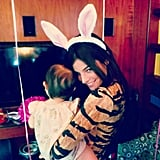 Julia Restoin-Roitfeld sported a pair of bunny ears during her daughter Romy's first birthday party. Source: Instagram user derekblasberg