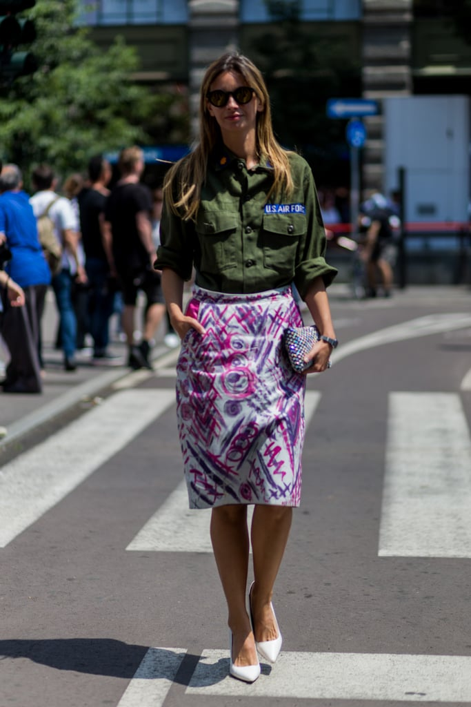 Style a Button-Down With a Printed Skirt