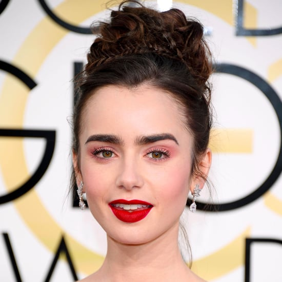 Lily Collins Hair and Makeup at the 2017 Golden Globes