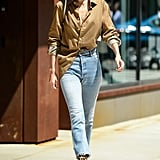Gigi loves to do the half-tuck with her shirt, which makes the outfit feel casual and cool.