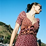 UO Giulia Mixed Print Ruffle Midi Dress