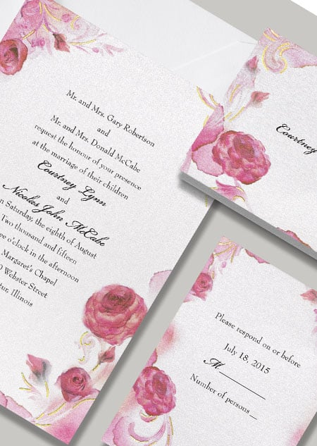 """Inspired by Sleeping Beauty, this Aurora """"Briar Rose"""" stationery features pink and red roses."""