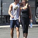 Emily VanCamp and Josh Bowman made their way out of the gym looking cute together.