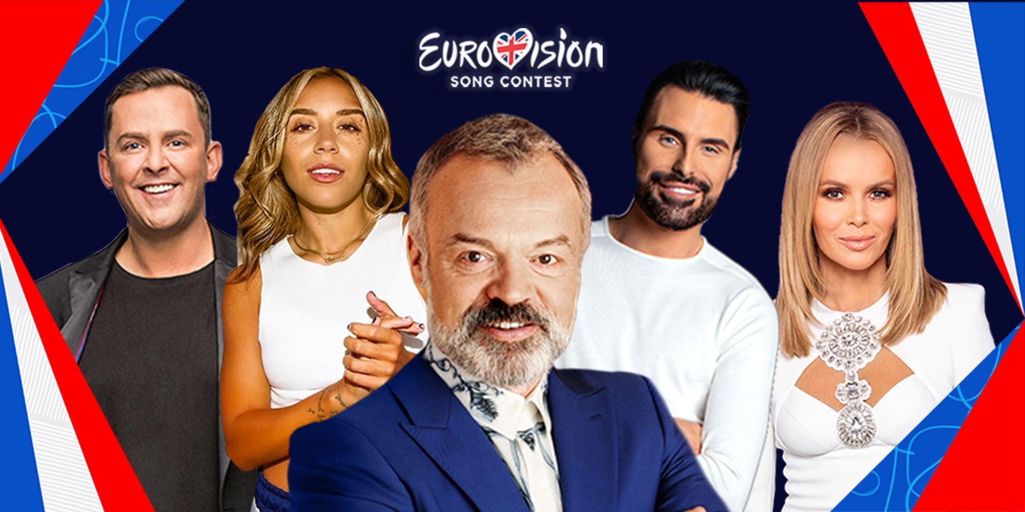Programme Name: Eurovision 2021 - TX: 22/05/2021 - Episode: Eurovision 2021  (No. n/a) - Picture Shows: (L-R) Scott Mills, Chelcee Grimes, Graham Norton, Rylan Clark-Neal, Amanda Holden - (C) BBC - Photographer: Various