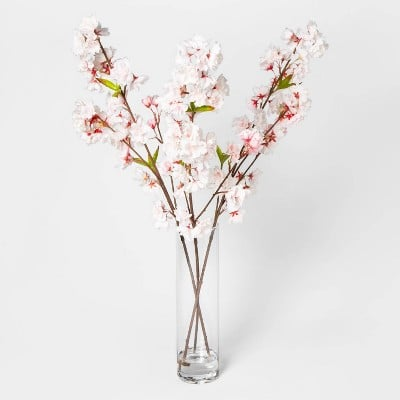 "27"" x 14"" Artificial Cherry Blossom Arrangement Pink/White"