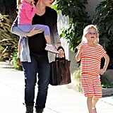 Jennifer Garner took Seraphina Affleck and Violet Affleck out for a sunny stroll in December 2011.