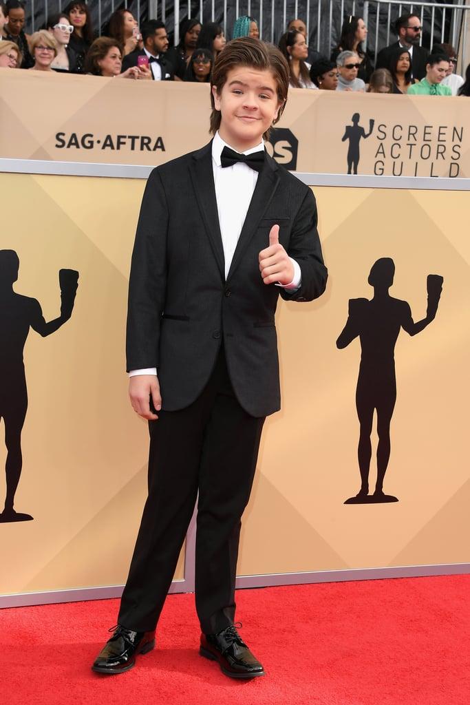 Gaten Matarazzo's Straight Hair at the 2018 SAG Awards