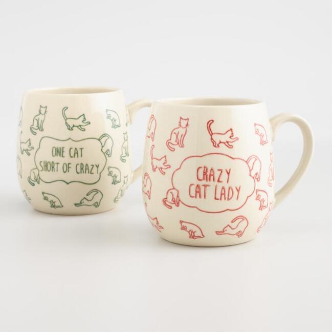 Crazy Cat Lady Stoneware Mugs Set of 2 ($12)   World Market White ...