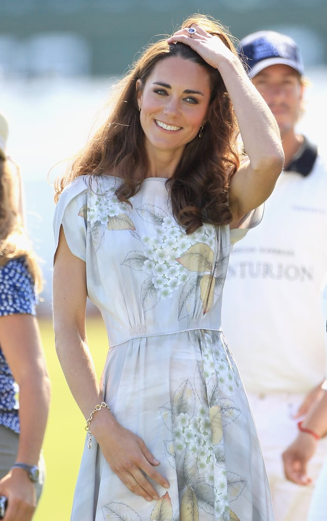 July 9th, 2011 Attending a polo match in Santa Barbara, California.   Kate wore a de Gournay silver and marble grey hand-painted chinoiserie silk dress by Jenny Packham.