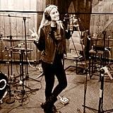 Bar Refaeli sung some tunes in the recording studio.  Source: Twitter User BarRefaeli