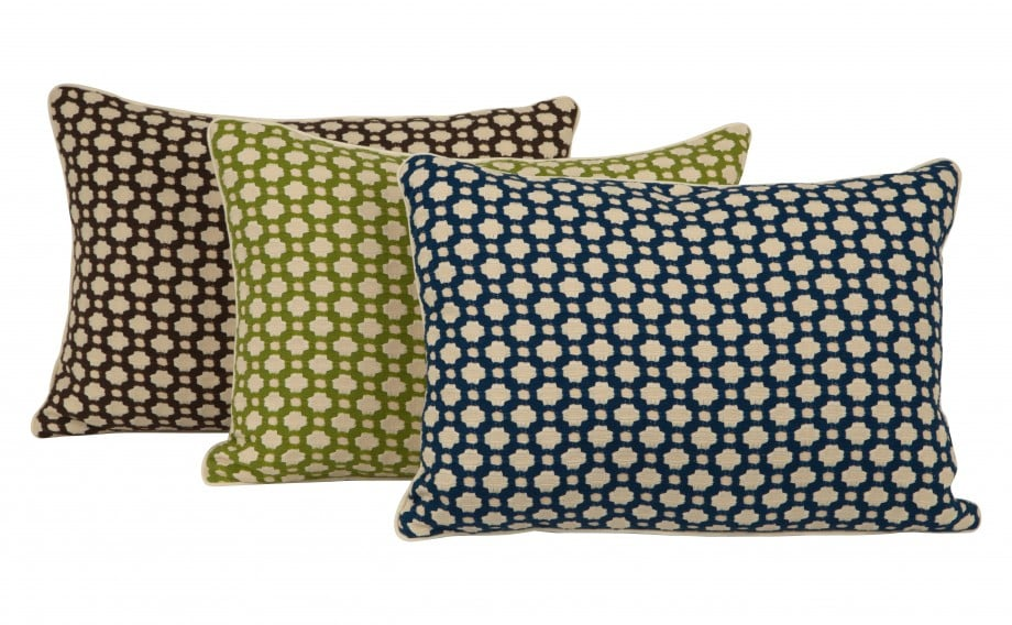 The Geo Pillows ($195) go luxe thanks to the velvet body and silk trim.