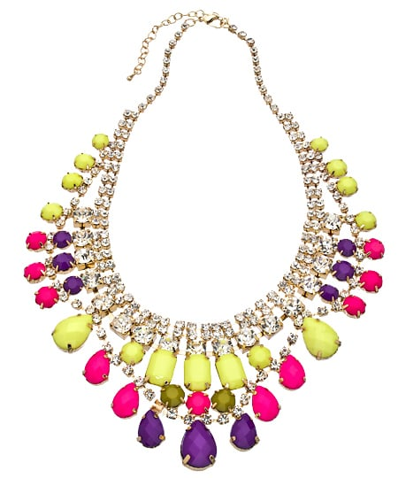 This Blu Bijoux Gold With Crystal Beads Bib Necklace ($39) is bold, bright, and a pretty good deal.