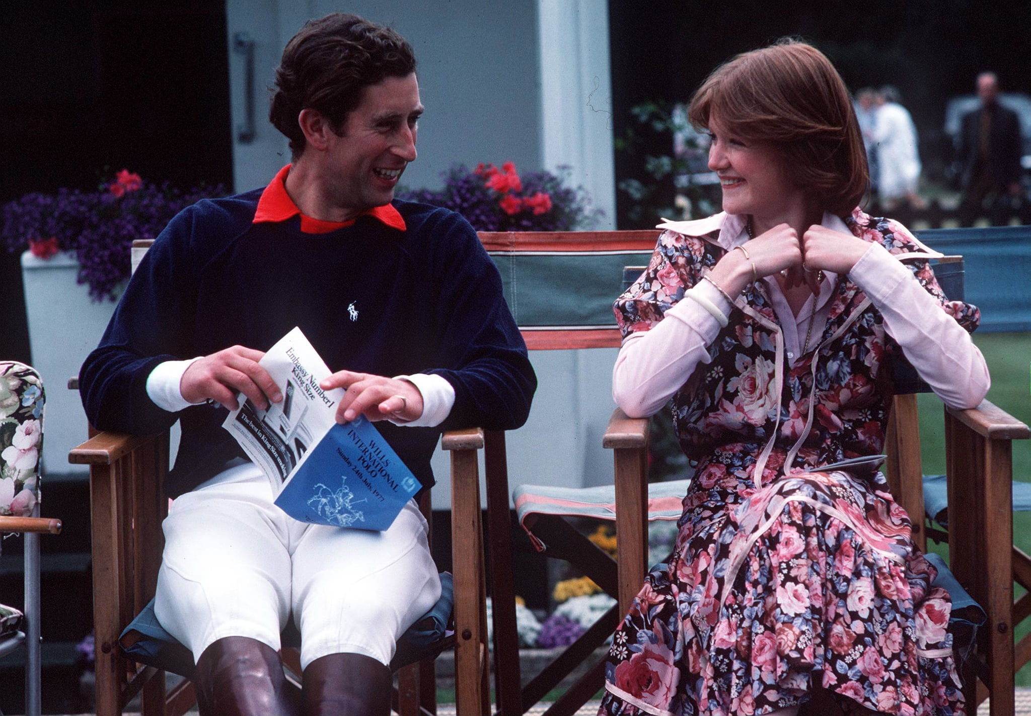 WINDSOR, UNITED KINGDOM - JULY 01:  Prince Charles Sitting Talking To Lady Sarah Spencer At A Polo Match At Guards Polo Club,smiths Lawn, Windsor Great Park (exact Date Not Certain)  (Photo by Tim Graham Photo Library via Getty Images)