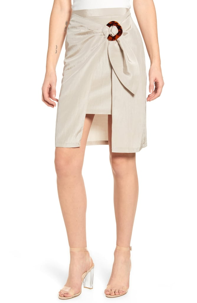 J.O.A. Wrap Front Side Buckle Skirt
