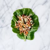 Crunchy Buckwheat-Pistachio Chicken Salad in Collard Wraps