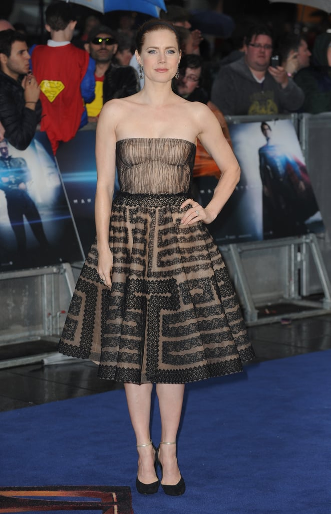 For the UK premiere of Man of Steel, Amy Adams was a vision in a strapless, lace fit-and-flare dress, which needed little else other than her gold-and-black ankle-strap Casadei pumps and a pair of drop earrings.