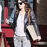 Drew Barrymore wore skinny jeans and a leather jacket.
