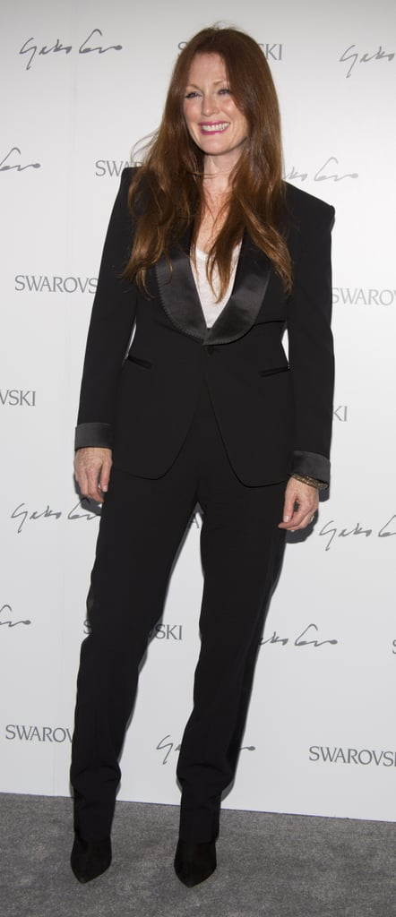 Julianne Moore kept it classic in a tuxedo blazer and trousers for Swarovski's fete.