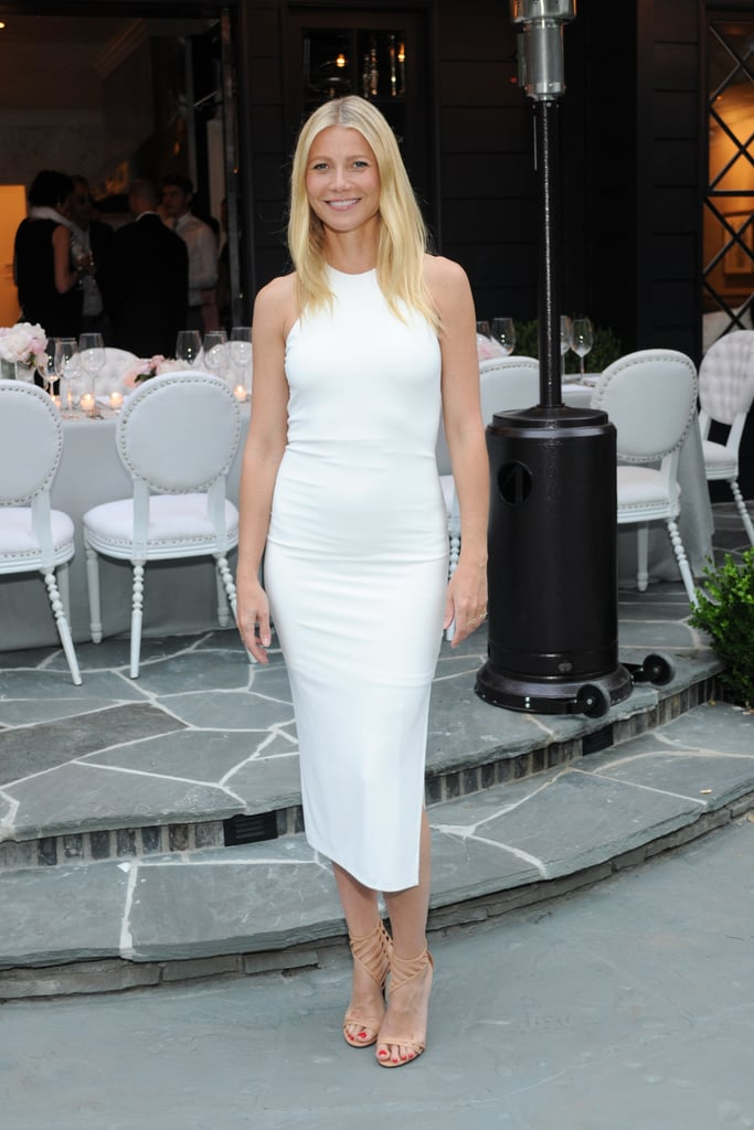 Gwyneth Paltrow looked white-hot in LA on Monday, posing for pictures at an event celebrating designer Windsor Smith and her new book, Homefront, which features a foreword by the actress. Gwyneth wore a figure-hugging white dress for the occasion, flashing a big grin when she linked up with Windsor for a photo.  Earlier this week, Gwyneth and her kids made headlines when the actress shared an adorable picture of Apple and Moses. Although her 11-year-old daughter is wearing a large helmet in the photo, it's clear that she looks just like her mum, and the Instagram snap comes just a couple weeks after Gwyneth shared a throwback picture of her mum, Blythe Danner, whom Gwyneth definitely resembles. Keep reading for more pictures of Gwyneth at this week's event, then see cute pictures of Gwyneth and her mom hitting the red carpet together at a premiere in May.