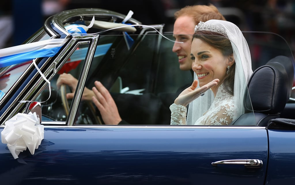 Six years ago, on April 29, Prince William and Kate Middleton shared their wedding with the world, though the newly christened Duke and Duchess of Cambridge found ways to sneak in sweet, private newlywed moments amid the madness. Prince William whispered to his bride during their carriage ride and had his breath taken away by Kate as she walked down the aisle. In honour of their anniversary, we're taking a look at those moments and more sweet photos from their big day.