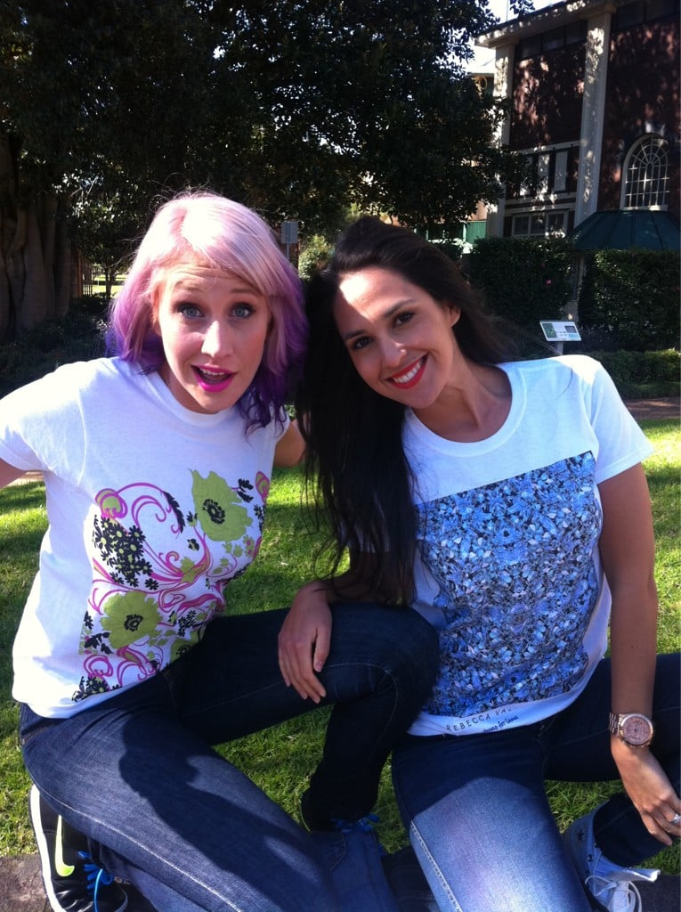 Maude Garrett and Zoe Balbi sported T-shirts in support for Jeans for Genes Day. Source: Twitter user tailormaid_