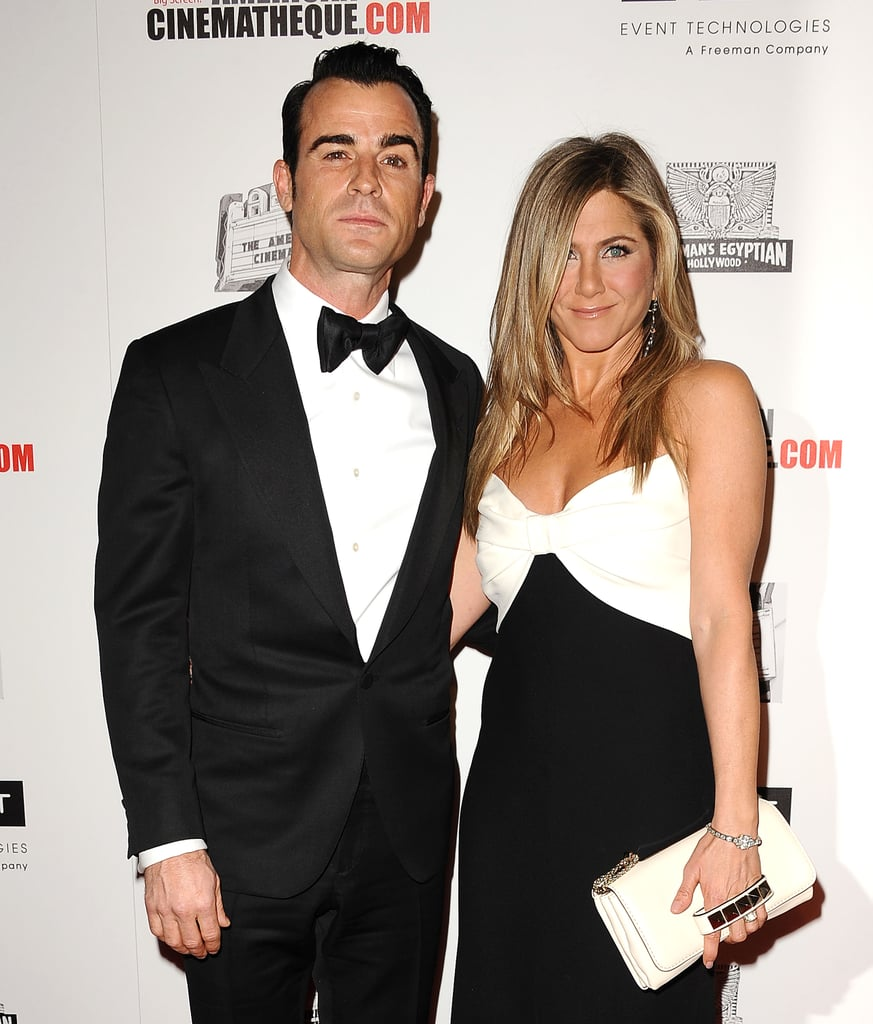 Justin Theorux and Jennifer Aniston posed for photos at the American Cinematheque Awards in LA.